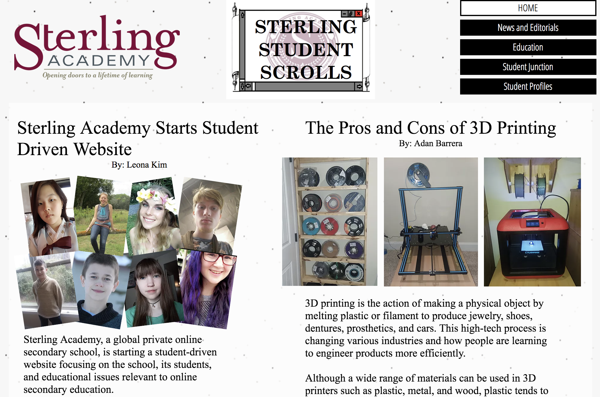 Sterling Student Scrolls sample